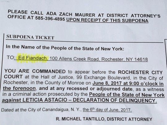 A subpoena dated June 6, 2017, for defense attorney Ed Fiandach to testify against his client, Rochester City Court Judge Leticia Astacio.