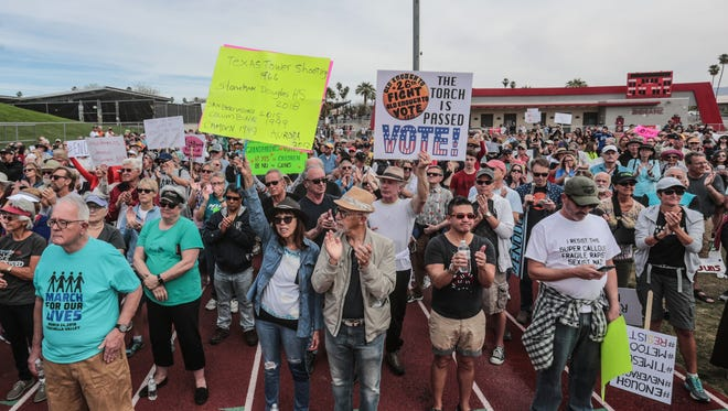 People packed Palm Springs High School stadium to participate in the Palm Springs March for Our Lives on Saturday, March 24, 2018. Palm Springs joined hundreds of other marches held around the world fighting for gun restrictions.