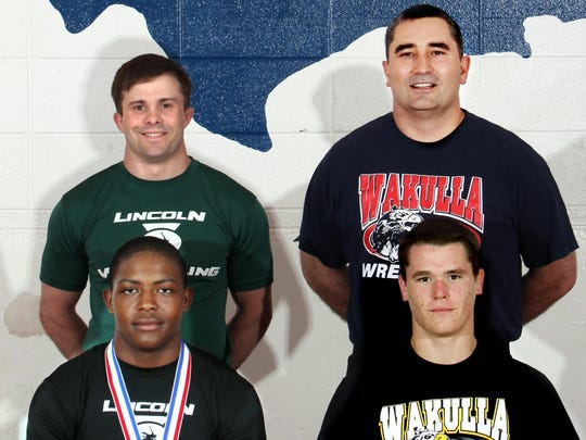 2010 All-Big Bend Wrestlers and Coaches of the Year. Josh Coleman (Lincoln) and Scott Varner (Wakulla), Wrestlers of the Year; Top: Coaches of the Year Mike Crowder (Lincoln) and John Wainwright (Wakulla)