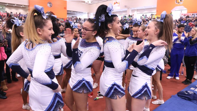 Eastridge cheerleaders react after hearing they placed first.