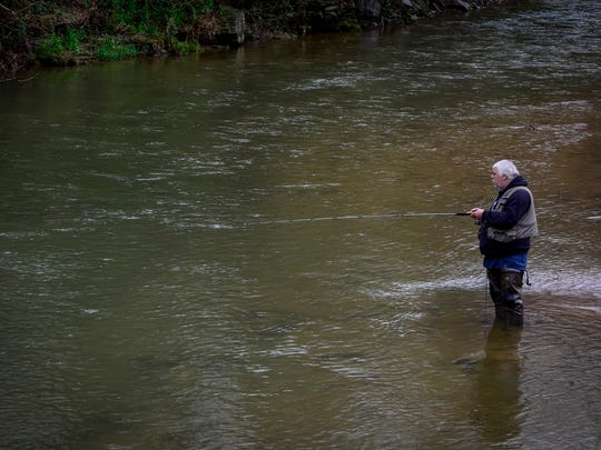 Rain didn't keep fishermen from opening day of trout season in Muddy Creek Forks, Saturday April 2, 2016. John A. Pavoncello photo