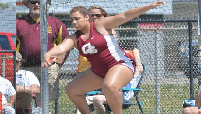 Maria Hillyard throws discus during a meet for Gibson Southern this spring.