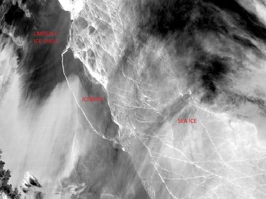 This satellite image shows the Larsen C ice shelf on