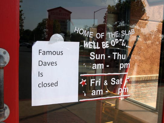 Sign on Famous Dave's, Westridge Shopping Center, Salinas.