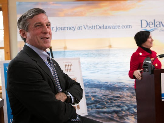 Gov. John Carney and Delaware Tourism Director Linda Parkowski speak at the Dew Point Brewing Co. in Yorklyn to discuss new data showing 8.5 million visitors came to Delaware in 2015.