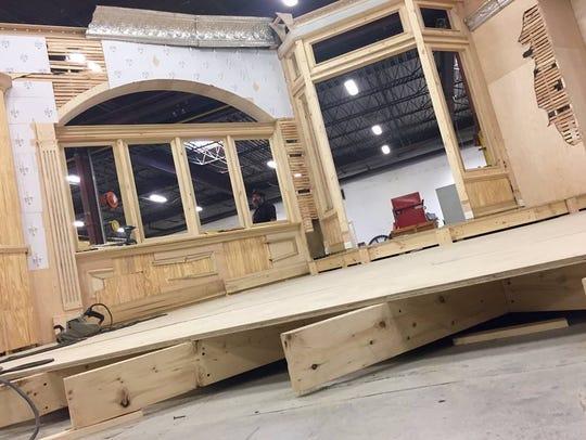 "The ""Jitney"" set under construction."