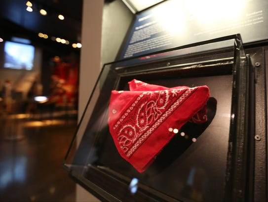 One of Welles Crowther's bandanas on display at the