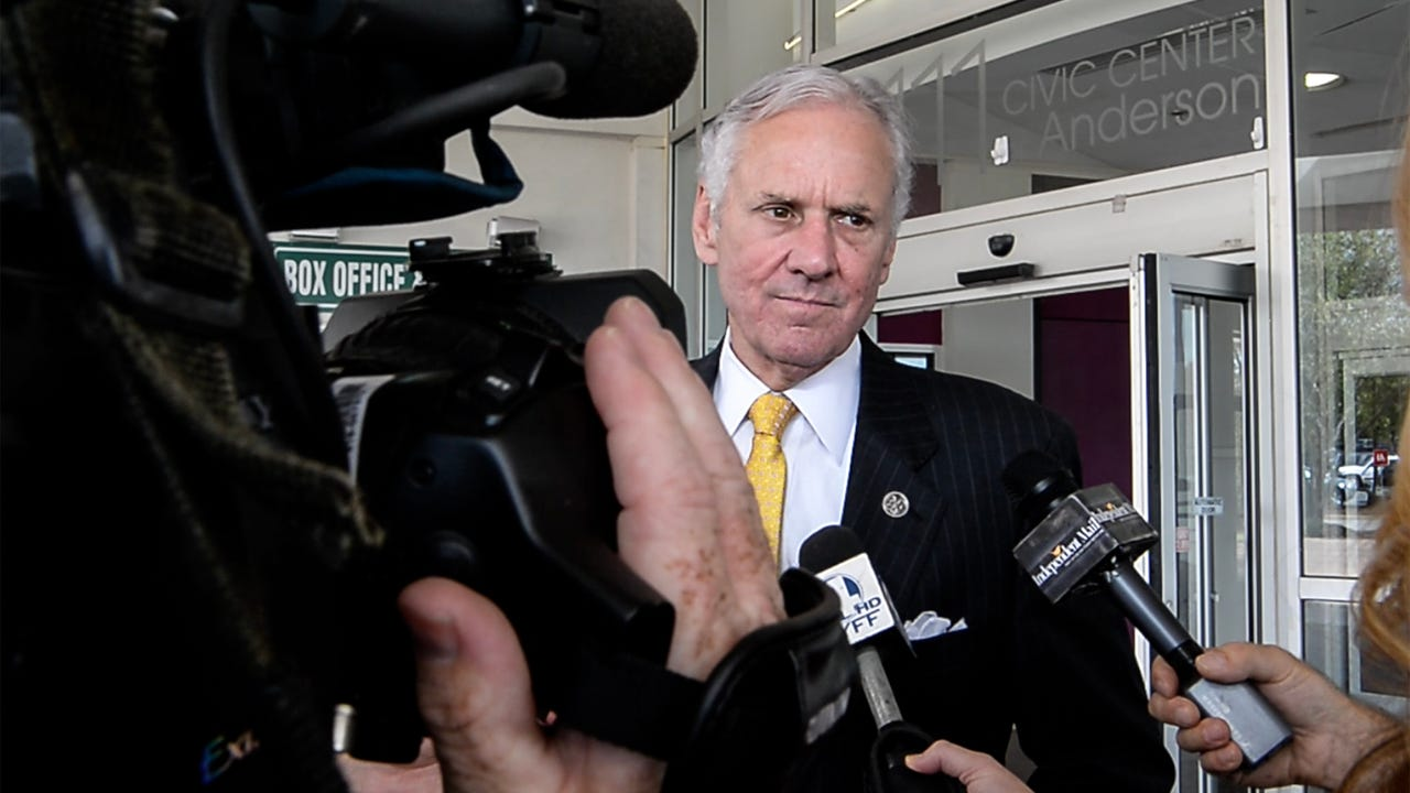 South Carolina Gov. Henry McMaster speaks after the Arthrex business announcement outside the Civic Center of Anderson on Monday. Gov. McMaster also talked about the U.S. President Donald Trump visit.
