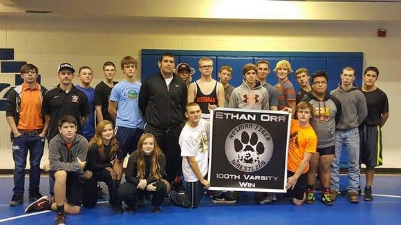 The Rosman wrestling team honored senior Ethan Orr
