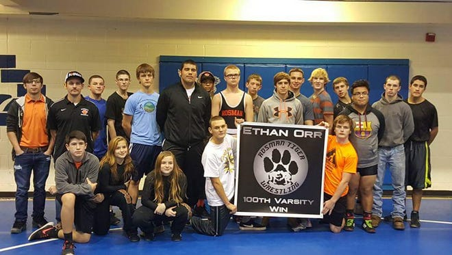 The Rosman wrestling team honored senior Ethan Orr after his 100th career win last month.