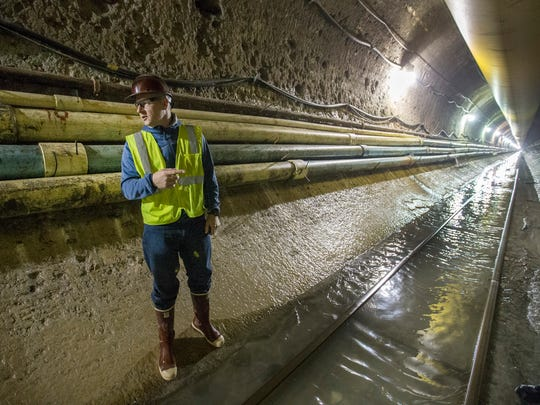 Michael Miller, PE, Manager - Construction Underground Engineering & Construction, give a media tour of the DigIndy tunnel off of West Street and White River Parkway Tuesday, Oct 11, 2017.