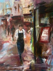 "Tracy Owen's oil painting  ""Cullimore Cafe Paris"""