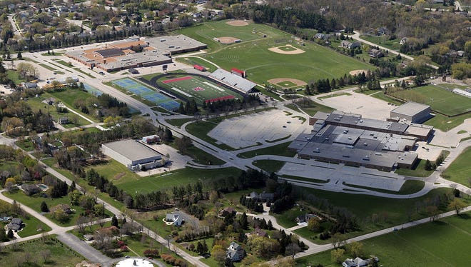 An aerial view of the Arrowhead High School campus from 2012.