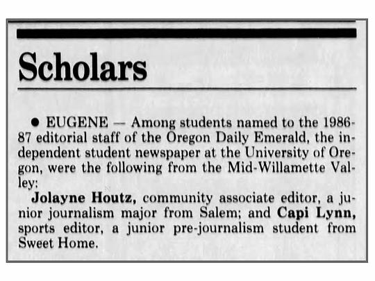 A news item in the July 2, 1986 issue of the Statesman-Journal announcing the staff of the Oregon Daily Emerald, including Capi Lynn as sport editor.