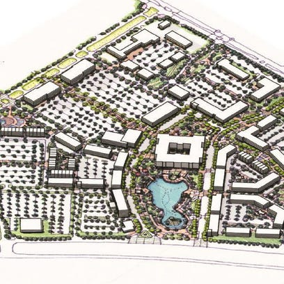 A rendering from the northeast view of the master plan