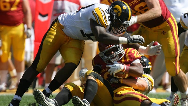 Lebron Daniel (58) made 39 tackles while playing for the Iowa Hawkeyes. Now, he's a defensive lineman for the Iowa Barnstormers.