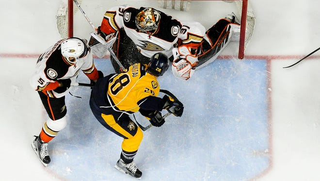 The Predators were shut out by Ducks goaltender Frederik Andersen in Anaheim's 3-0 win in Game 3.