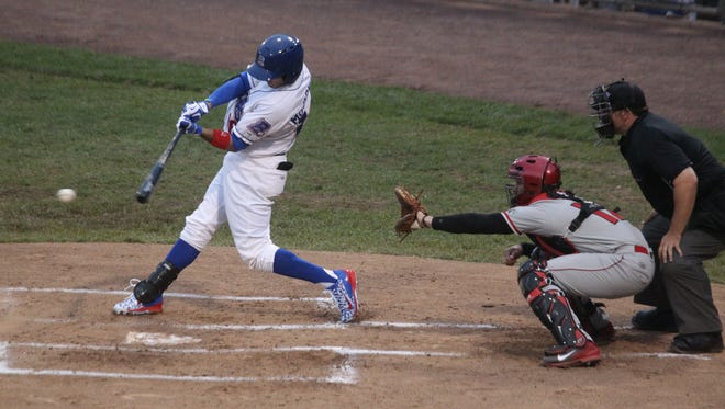 Rockland Boulders' Jared McDonald gets a hit against the Trois-Rivieres Aigles during the season opener at Provident Bank Park May 21, 2015.