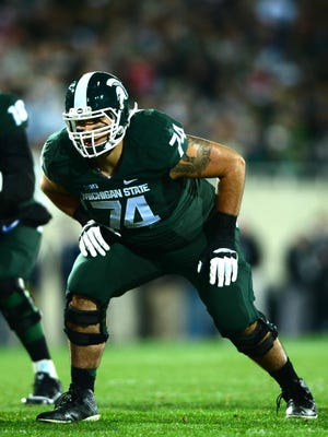 Nov 8, 2014; East Lansing, MI, USA; Michigan State Spartans offensive tackle Jack Conklin (74) against the Ohio State Buckeyes at Spartan Stadium. Mandatory Credit: Andrew Weber-USA TODAY Sports usp ORG XMIT: USATSI-182492 [Via MerlinFTP Drop]