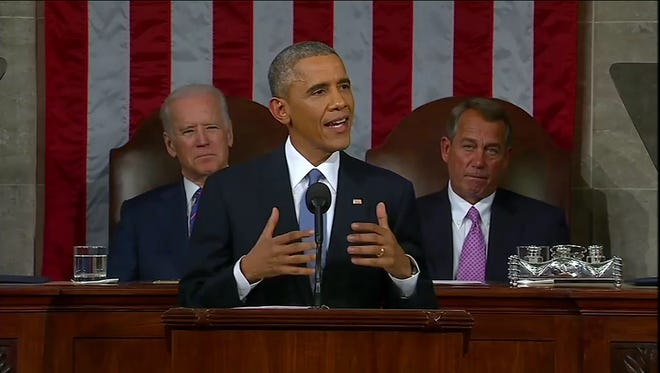 President Obama addressing the nation during the 2015 State of the Union address.