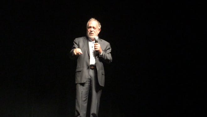 Former U.S. Secretary of Labor Robert Reich talks to crowd at The Englert Theatre in Iowa City on Saturday, Oct. 3.