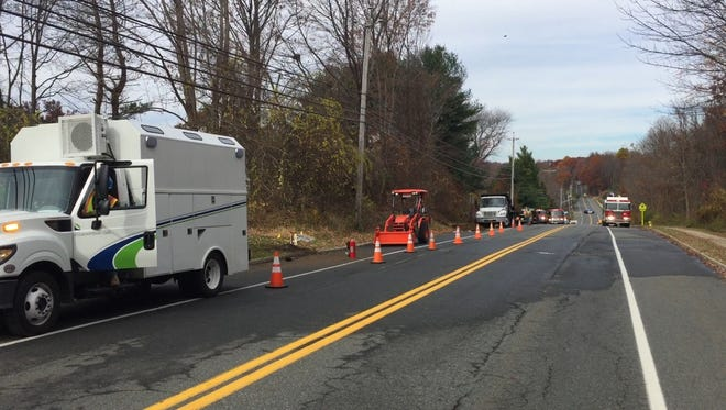 Utily workers, fire fighters and police responded to the scene of a gas-main break Monday on Wolfe Road near Mount Olive Middle School and a day-care center.
