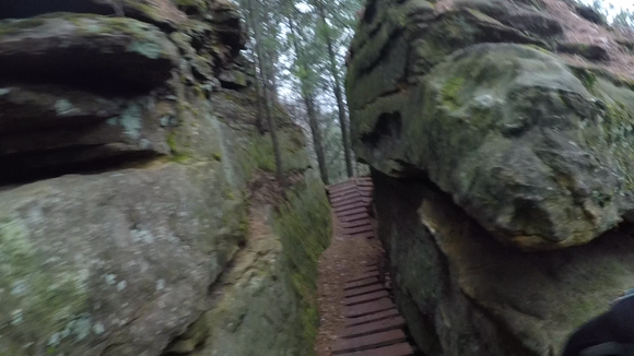 A boardwalk climbs through two rock formations to make up The Plumber's Crack at Levis Mounds