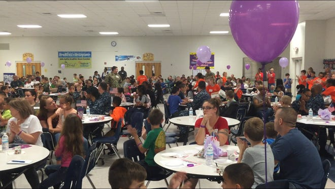 A crowd of about 500 attended Thursday's Blue Angels Elementary Little Hero's Military Breakfast.