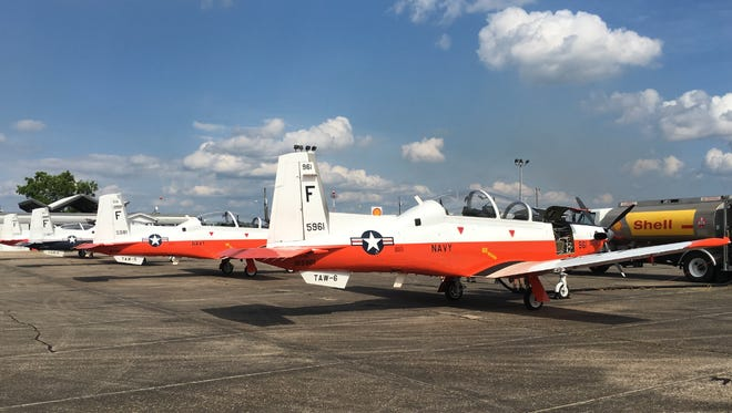 Military training aircraft sit outside the Hattiesburg Bobby L. Chain Municipal Airport. The city is working to help install approach lighting at the airport.