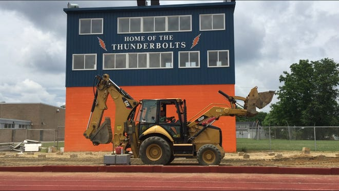 This was moving week for old home side bleachers at Millville School District's Wheaton Field on East Broad Street. By mid-afternoon Thursday, bleachers were largely gone.