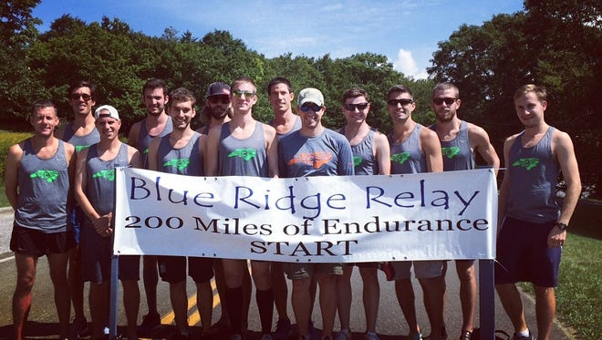 Former Chambersburg standout Ed Schlichter, far left, recently assisted the Charlotte Running Club to a tightly-contested victory over the Asheville Running Collective in the Blue Ridge Relay, a 200-mile relay race in North Carolina.