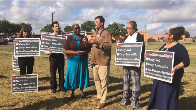 "Candidates endorsed by the Corpus Christi American Federation of Teachers led a news conference Thursday at Cunningham Middle School. Two candidates, Alice Upshaw-Hawkins and Marty Bell, spoke about their hopes to take CCISD in a ""new direction."""