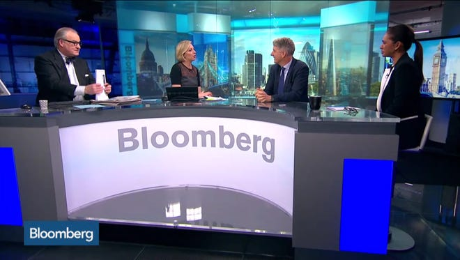 "A screen shot of the Bloomberg's live TV show ""Bloomberg Surveillance."""