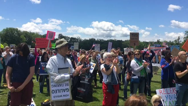 Activists and protesters at the March for Truth in Bedminster on Saturday, June 3.