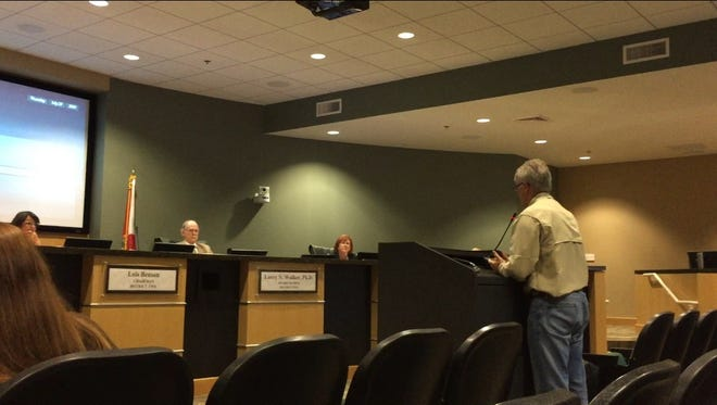 Jim Hunt, a resident of unincorporated Pensacola, speaks during public comment of the Emerald Coast Utilities Authority meeting on July 27, 2017. The utility has proposed adding a new fee to monthly bills.