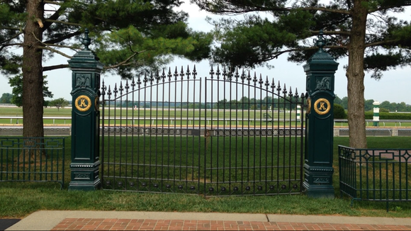 Trees that were beside the old Kentucky Association track gates at Keeneland Race Course have been cut.