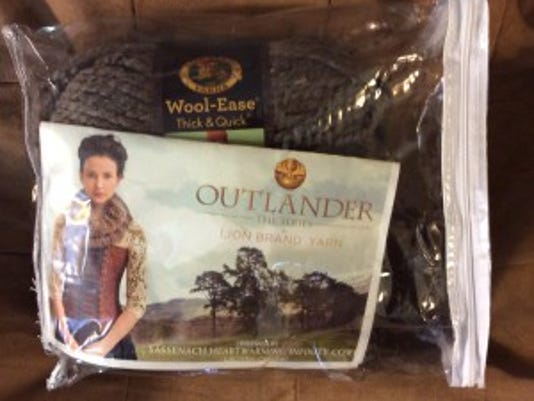 The Outlander infinity cowl kit comes with two skeins of Lion Brand WoolEase Thick & Quick in Brown.