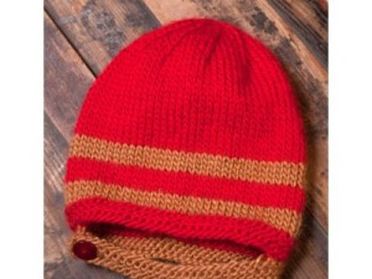 This pilot hat comes from a free pattern on the Yarnsirations.com website.