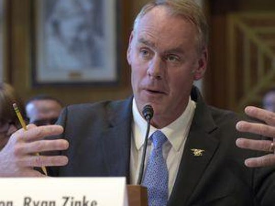 Interior Secretary Ryan Zinke, shown testifying on Capitol Hill, review the creation or expansion of national monuments of more than 100,000 acres since 1996 under an executive order signed by President Donald Trump.