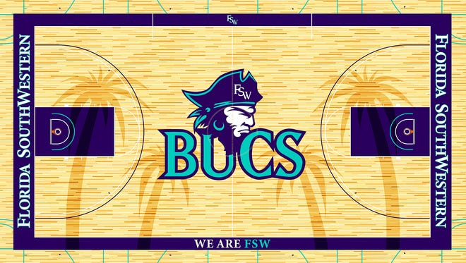 "Florida Southwestern State College unveiled the design for the playing floor in the Suncoast Credit Union Arena on Wednesday, Sept. 21, 2016. Designed by FSW Sports Information Director Michael Hill, the Buccaneers' court design, outlined in purple, features a Bucs head logo and nickname --Bucs -- at center court, with ""Florida SouthWestern"" along the baselines. ""We Are FSW"" is located on the sideline opposite of the team benches. The design also features four palm trees that stretch nearly sideline to sideline. The palm trees, each in a dark stain, are a nod to the home of FSW's Lee campus, Fort Myers, and its nickname, ""City of Palms""."