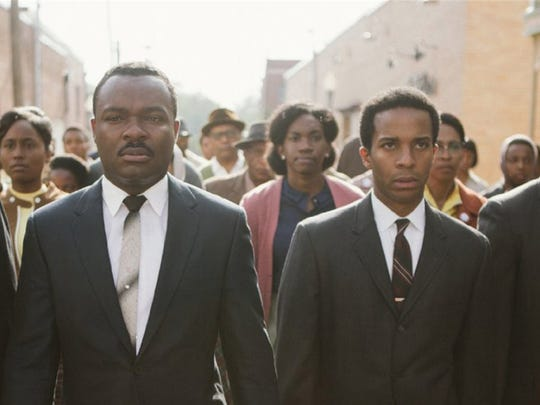 "Colman Domingo, left, David Oyelowo, André Holland, and Stephan James star in ""Selma."""