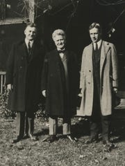 Sen. Robert La Follette, independent candidate for the presidency, standing between two of his chief men, Wisconsin Gov. John J. Blaine and Attorney General Herman L. Ekern (right), as they appeared at Bob's Maple Bluff farm, Madison on Nov. 2, 1924.