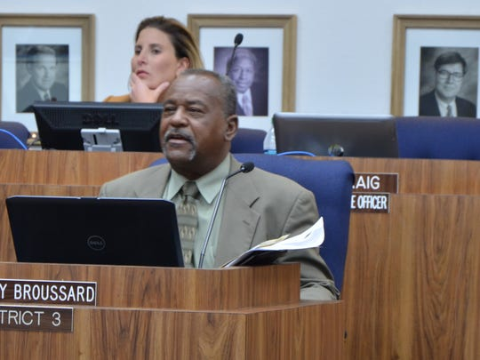 Lafayette Parish School Board member Elroy Broussard speaks at a January 2016 meeting.