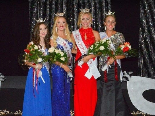 From left to right: Miss Alamogordo Outstanding Teen Dallas Collins, Miss Alamogordo Staesha Gentry, Miss Otero County Ryleigh Murphy and Miss Otero County Outstanding Teen Sage Drake stand as they show off their crowns and titles Saturday at the Flickinger Center for Performing Arts.