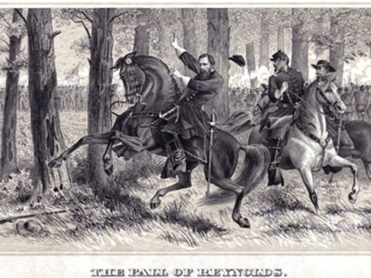 Alfred R. Waud sketch of The Fall of Reynolds (Library of Congress)