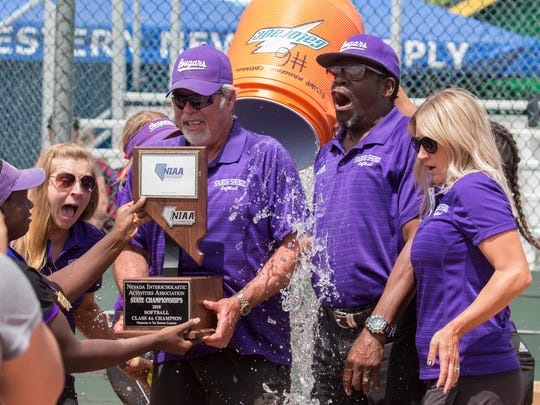 The Spanish Springs coaches are doused after winning the 2018 NIAA 4A Softball Championship game at Manogue High School on Saturday.