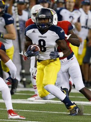 Northern Arizona wide receiver Emmanuel Butler (8) during the second half of an NCAA college football game against Arizona, Saturday, Sept. 19, 2015, in Tucson, Ariz.