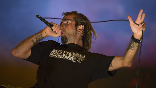 Randy Blythe of the heavy metal group Lamb of God performs at the Rock in Rio music festival in Rio de Janeiro, Brazil in 2015.
