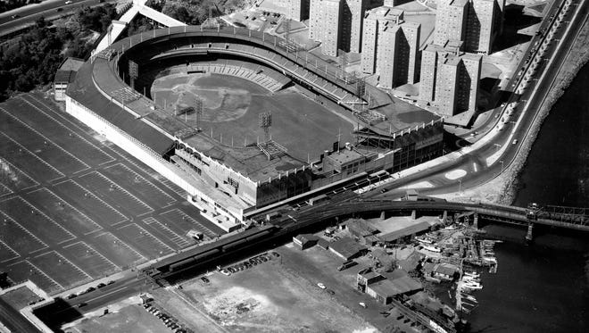 The Polo Grounds, the home of the New York Giants and later the New York Mets, is seen from above in 1951.