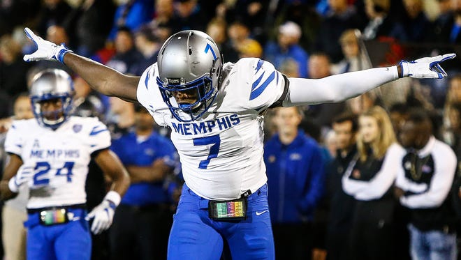 University of Memphis defender Curtis Akins celebrates a tackles against University of Tulsa during second quarter action in Tulsa, Okla., Friday, November 3, 2017.